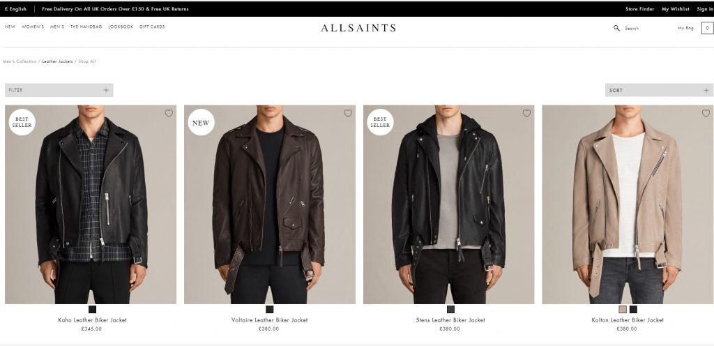 Allsaints áo da thật , áo da nam