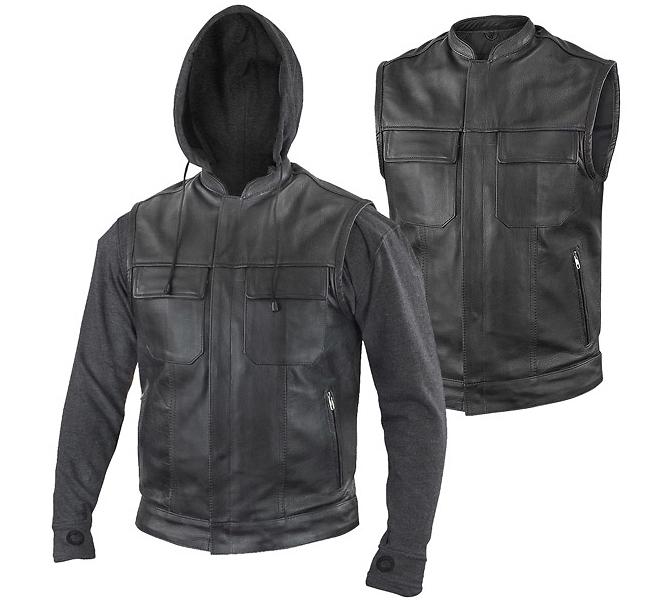 vest leather áo da thật , áo da nam