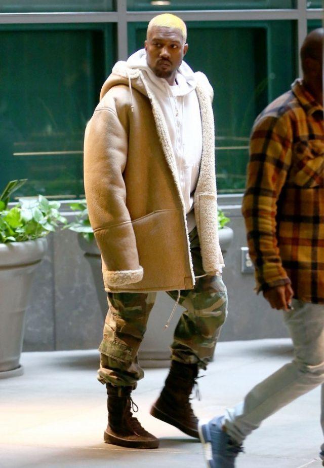 kanye west shearling coat